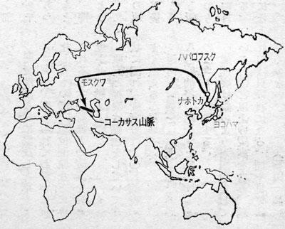 コーカサスへ地図